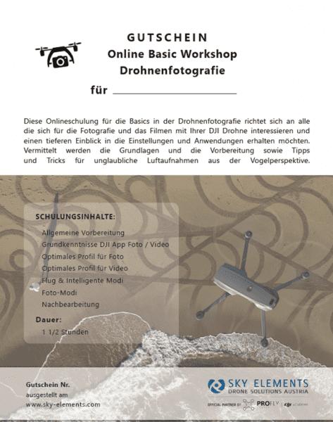 Geschenksgutschein Online Basis Workshop Drohnenfotografie